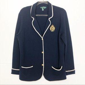 EUC Ralph Lauren Navy wool sweater blazer
